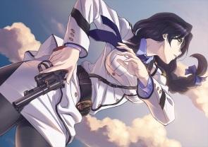 Konachan.com - 198037 black_hair braids close clouds glasses gono_hitomi gun long_hair pantyhose rail_wars! tagme_(artist) uniform weapon