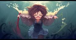 Konachan.com - 198428 brown_hair glasses haraguroi_you kuriyama_mirai kyoukai_no_kanata pantyhose seifuku short_hair skirt sword underwater water weapon
