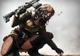 Konachan.com - 198642 boots brown_eyes brown_hair gloves gradient gun imizu_%28nitro_unknown%29 mask military original thighhighs weapon