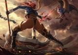 Konachan.com - 198751 2girls animal armor ass bat blue_hair boots chain dantewontdie gloves magic pantyhose red_hair scythe spear touhou underboob weapon wings