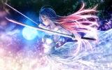 Konachan.com - 198755 blue_hair dress green_eyes katana long_hair moon original red_hair rezi sword weapon