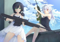 Konachan.com - 198871 2girls black_hair blush clouds east01_06 gun long_hair original ponytail summer_dress weapon white_hair wink