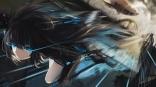 Konachan.com - 199230 black_hair black_rock_shooter blue_eyes kuroi_asahi kuroi_mato long_hair signed sword weapon