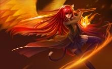 Konachan.com - 199294 animal_ears brown_eyes cape catgirl fire hanshu katana long_hair magic red_hair skirt sword tail thighhighs weapon wings
