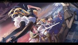 Konachan.com - 199909 animal_ears black_hair blonde_hair dress group long_hair pantyhose pixiv_fantasia shuang_ye sword weapon