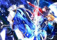 Konachan.com - 199984 2girls armor black_hair blonde_hair dress fate_stay_night jpeg_artifacts moon night saber sword swordsouls tohsaka_rin weapon