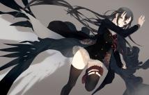 Konachan.com - 200122 black_hair blush cape eules garter gray green_eyes long_hair seifuku skirt tagme_%28character%29 thighhighs weapon