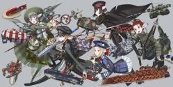 Konachan.com - 200362 dress glasses gray hat honjou_raita jpeg_artifacts pointed_ears smoking sword tagme uniform weapon
