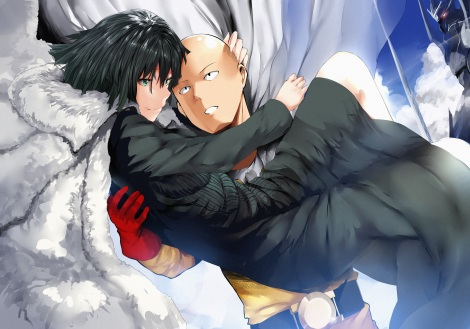 Konachan.com - 212361 black_hair cape clouds dress fubuki_(onepunch_man) gloves green_eyes hewsack onepunch_man saitama