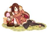 Konachan.com - 177987 brown_hair chocolate food green_eyes juu. original thighhighs valentine
