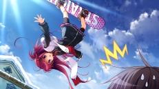 Konachan.com - 194900 game_cg long_hair nanaca_mai purple_eyes red_hair reppuji_kanon scarf shorts sky snow sport yukikoi_melt