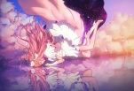 Konachan.com - 195034 clouds dress gloves kaname_madoka long_hair mahou_shoujo_madoka_magica maredoro pink_hair ultimate_madoka water wings
