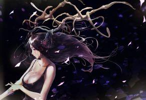 Konachan.com - 195374 black_hair breasts brown_eyes cleavage dress hong horns jpeg_artifacts long_hair original tears