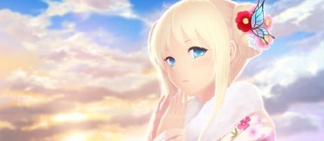 Konachan.com - 195495 blonde_hair blue_eyes boku_wa_tomodachi_ga_sukunai cait clouds japanese_clothes kashiwazaki_sena