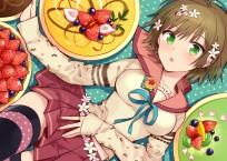 Konachan.com - 195624 blush bow brown_hair flowers food fruit green_eyes nino original ribbons seifuku short_hair skirt strawberry thighhighs