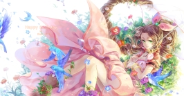 Konachan.com - 195799 aeris_gainsborough animal bird brown_hair cat_princess dress final_fantasy final_fantasy_vii flowers green_eyes leaves long_hair umbrella wristwear