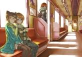 Konachan.com - 195826 blonde_hair blue_eyes brown_eyes glasses hat hoshizora_rin kneehighs koizumi_hanayo nishikino_maki orien pantyhose red_hair skirt train yazawa_nico