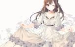 Konachan.com - 196022 brown_hair dress koi_suru_kanojo_no_bukiyou_na_butai skirt skirt_lift tagme_(artist) togawa_mayuu wink