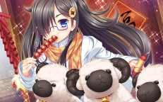 Konachan.com - 196090 33paradox animal black_hair blue_eyes food glasses linxingzi long_hair original scarf sheep
