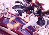 Konachan.com - 196137 black_hair dress lolita_fashion long_hair original scan thighhighs tsukishima_yuuko