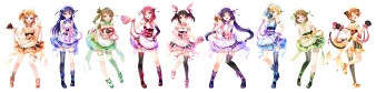 Konachan.com - 196142 animal_ears ass ayase_eri breasts catgirl cleavage dress garter see_through sonoda_umi stockings tail thighhighs valentine white yazawa_nico