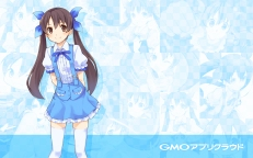 Konachan.com - 196655 blue brown_eyes brown_hair logo long_hair skirt tagme thighhighs twintails zettai_ryouiki zoom_layer