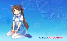 Konachan.com - 196656 blue brown_eyes brown_hair logo long_hair skirt tagme thighhighs twintails