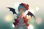 Konachan.com - 198220 blue_hair bow bridow food gradient hat lolita_fashion red_eyes remilia_scarlet short_hair touhou wings