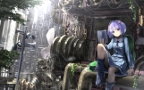 Konachan.com - 198571 blue_eyes blue_hair boots computer hat industrial kawashiro_nitori ryosios short_hair skirt touhou tree