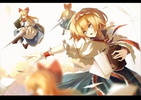 Konachan.com - 199562 alice_margatroid blonde_hair blue_eyes book headdress paper shanghai_doll short_hair touhou white wristwear