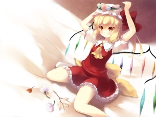 Konachan.com - 199742 blonde_hair bow dress flandre_scarlet flowers gengetsu_chihiro hat red_eyes socks touhou vampire wings