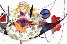 Konachan.com - 200360 blonde_hair dress fan pudding_(8008208820) purple_eyes touhou yakumo_yukari