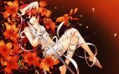 Konachan.com - 200674 bandage flowers katana long_hair navel nude orange red_eyes red_hair shakugan_no_shana shana sword weapon wentirtongmo