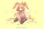 Konachan.com - 200755 animal_ears blonde_hair bunny bunnygirl candy cosplay crossover futaba_anzu idolmaster long_hair pantyhose tagme_(artist) twintails wristwear