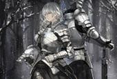 Konachan.com - 200819 armor braids forest gray_eyes gray_hair long_hair original polychromatic saberiii signed snow sword tree weapon