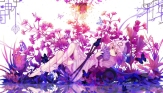 Konachan.com - 200866 barefoot butterfly dead_line dress fan flowers hat katana pink_hair purple_eyes saigyouji_yuyuko sword touhou weapon