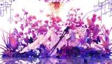 Konachan.com - 200866 barefoot butterfly dead_line dress fan flowers hat katana pink_hair purple_eyes saigyouji_yuyuko sword touhou weapon