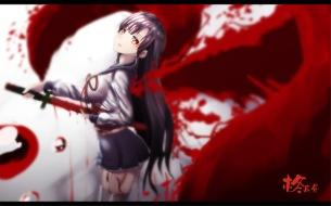 Konachan.com - 200970 black_hair blood hiiragi_mahiru hk_(zxd0554) jpeg_artifacts long_hair owari_no_seraph red_eyes skirt sword weapon