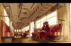 Konachan.com - 201146 2girls berabou hat maribel_han scenic skirt sleeping touhou train usami_renko water