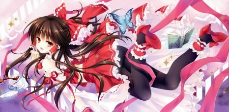 Konachan.com - 201175 book bow brown_hair butterfly drink hakurei_reimu japanese_clothes long_hair miko pantyhose red_eyes ribbons tatekawa_mako touhou wristwear