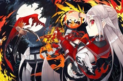 Konachan.com - 201221 animal bird building collar fire fujiwara_no_mokou gray_hair kusakanmuri long_hair moon night red_eyes torn_clothes touhou wristwear