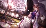 Konachan.com - 201236 blonde_hair bow building cherry_blossoms dress grass hat long_hair mochi_(chain_csn) petals touhou tree umbrella yakumo_yukari