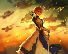 Konachan.com - 201429 armor blonde_hair blue_eyes braids clouds fate_stay_night gloves lan_jue photoshop saber sky sunset sword uniform weapon