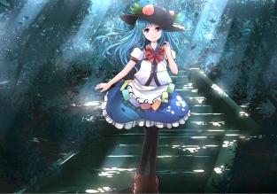 Konachan.com - 201537 blue_hair bow forest hat hinanawi_tenshi long_hair pantyhose purple_eyes risutaru shade skirt stairs touhou tree
