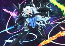 Konachan.com - 201579 armor blue_eyes bodysuit hyperdimension_neptunia long_hair mechagirl mizunashi_(second_run) noire sword weapon white_hair