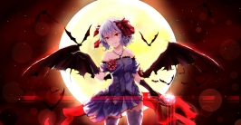 Konachan.com - 201609 animal bat dress fang moon red_eyes remilia_scarlet short_hair thighhighs touhou vampire white_crow wings