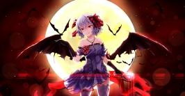 Konachan.com - 201609 animal bat dress fang moon red_eyes remilia_scarlet short_hair thighhighs touhou vampire white_crow wings