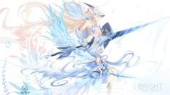 Konachan.com - 201661 angel breasts bzerox cleavage long_hair original signed spear sword underboob weapon wings