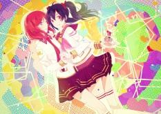 Konachan.com - 201751 2girls black_hair candy heart kneehighs purple_eyes red_eyes red_hair seifuku short_hair shoujo_ai thighhighs twintails yazawa_nico yui22