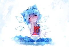 Konachan.com - 201873 bai_yemeng blue_hair blush bow cirno food short_hair touhou wings